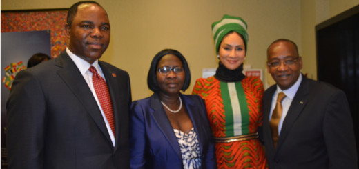 John Oaltunde Ayeni, Chief Executive Officer, Skye Bank, Sally Mbanefo, Boss of the Nigerian Tourism Development Corporation  [NTDC] , Cote D'Ivoire Ambassador to Nigerian and another official during the Tourism MoU signing in Lagos recently.