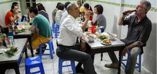 President Barack Obama and  Anthony Bourdain at the street-side bar in Vietnam.