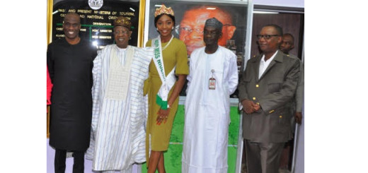 Publisher of Daily Times Newspaper, Fidelis Anosike; Minister of Information and Culture, Alhaji Lai Mohammed; 40th Miss Nigeria, Chioma Obiadi; Director General, Nigerian Television Authority, Yakubu Ibn Mohammed and Group Managing Director, Leadership Folio Ltd, Mike Okpara when organisers of the Miss Nigeria Pageantry.