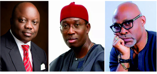 Sen. Ifeanyi Arthur Okowa, Governor, Dr. Emmanuel Eweta Uduaghan, former Governor and Richard Mofe Damijo, former Commissioner for Tourism, Arts and Culture, Delta State.