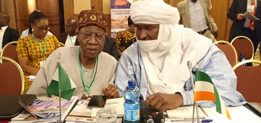 L-R: Minister of Information and Culture, Lai Mohammed with his counterpart from Niger at the 59th edition of the United Nations World Tourism Organization [UNWTO] in Addis Ababa, Ethiopia, on Wednesday.