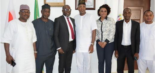 Folorunsho Coker NTDC Boss [middle], Bankole Bernand, National President, National Association of Nigeria Travel Agencies ]NANTA], Susan Akporiaye, 1st Deputy President of NANTA and others on a courtesy visit.